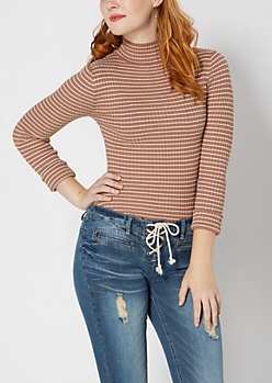 Taupe Striped Mock Neck Sweater