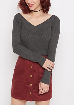 Charcoal Ribbed V-Neck Sweater