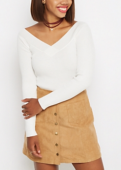 Ivory Ribbed V-Neck Sweater