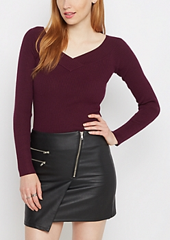 Plum Ribbed V-Neck Sweater