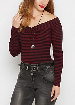 Burgundy Striped Ribbed V-Neck Sweater