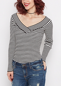 White Striped Ribbed V-Neck Sweater