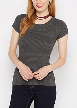 Charcoal Ribbed Knit Tee