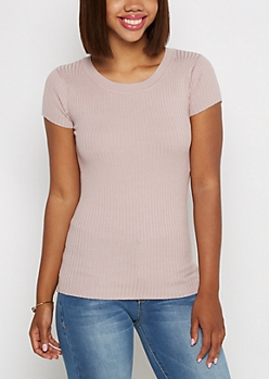 Lavender Ribbed Knit Tee