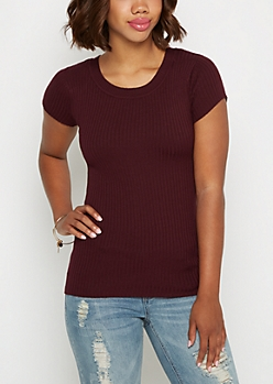 Plum Ribbed Knit Tee