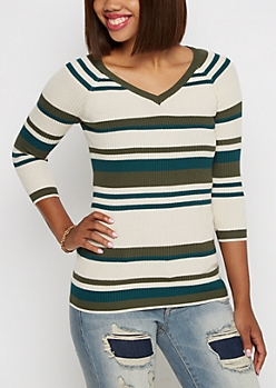 Green Mixed Stripe V-Neck Sweater