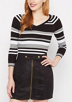Black Mixed Stripe V-Neck Top