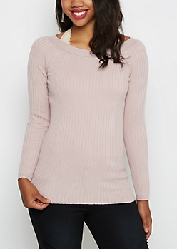 Lavender Ballet Neck Fitted Sweater
