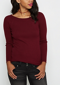 Burgundy Ballet Neck Fitted Sweater