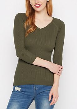 Olive Ribbed Knit V-Neck Sweater