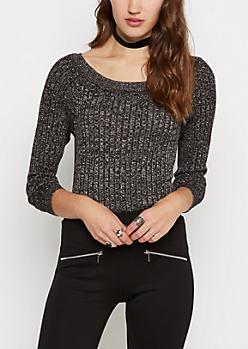 Black Metallic Ballet Neck Sweater