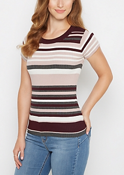 Dark Purple Mixed Stripe Ribbed Top