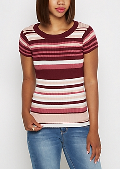 Burgundy Mixed Stripe Ribbed Top