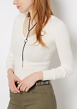 Ivory Rib Knit Fitted V-Neck Sweater
