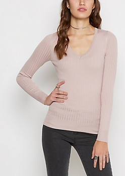 Pale Violet Rib Knit Fitted V-Neck Sweater