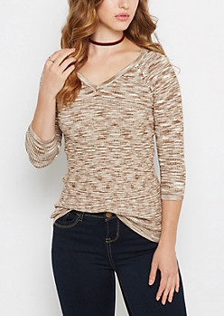Tan Space Dyed V-Neck Sweater