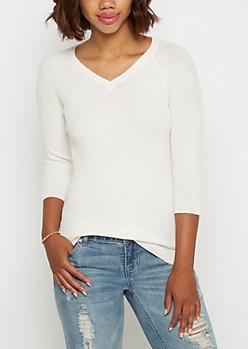 Ivory Ribbed Knit V-Neck Top