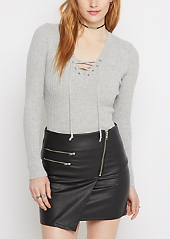 Gray Lace-Up Sweater