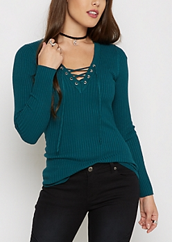 Teal Lace-Up Sweater