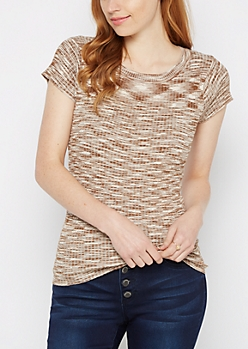Tan Space Dyed Cap Sleeve Sweater