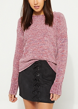 Pink Speckled Chenille Knit Sweater