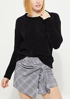 Black Chenille Knit Sweater