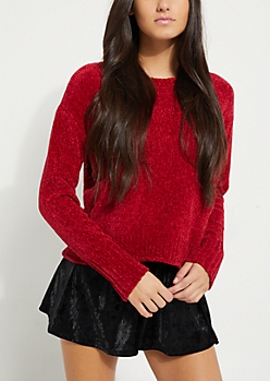 Red Chenille Knit Sweater