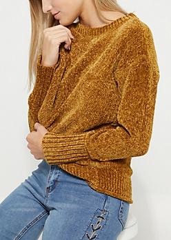 Mustard Chenille Knit Sweater