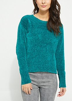 Teal Chenille Knit Sweater