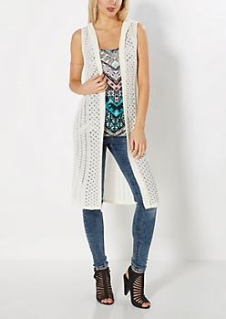 Ivory Pointelle Hooded Duster