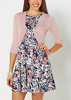 Pink Pointelle Knit Shrug