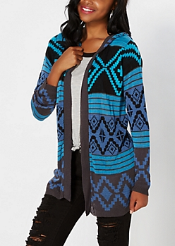 Blue Hooded Aztec Cardigan