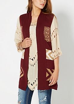 Burgundy Tribal Striped Knit Vest