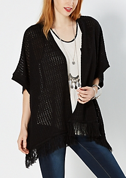 Black Openknit Fringed Poncho