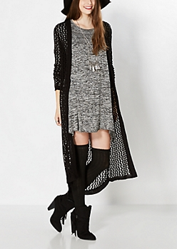 Black Open Knit Duster