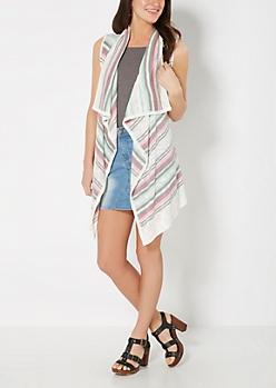 Pink Striped Cascading Vest