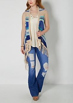 Blue Tribal Pointelle Vest