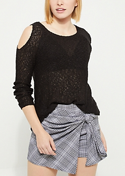 Black Flocked Knit Cold Shoulder Sweater