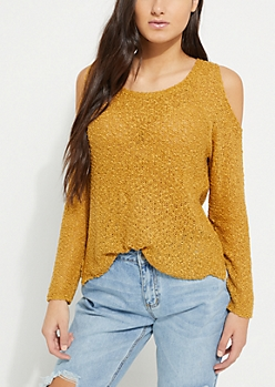 Mustard Flocked Knit Cold Shoulder Sweater