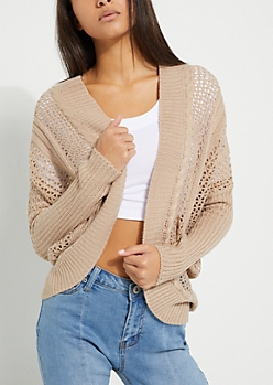 Taupe Cable Pointelle Knit Cardigan