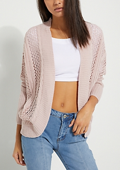 Pink Cable Pointelle Knit Cardigan