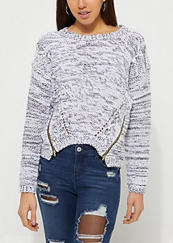 Gray Zipper Detail Sweater