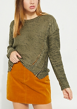 Olive Zipper Detail Sweater