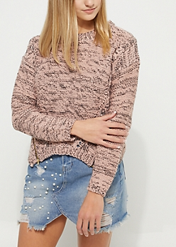 Pink Zipper Detail Sweater