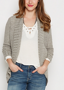 Heather Gray Pointelle Knit Cocoon Wrap