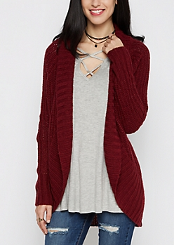 Burgundy Pointelle Knit Cocoon Wrap