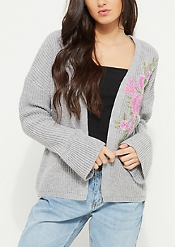 Gray Flower Embroidered Bell Sleeve Cardigan