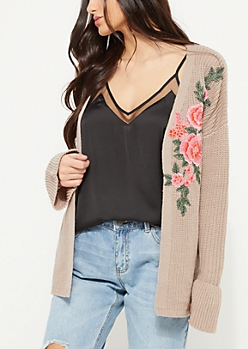 Taupe Flower Embroidered Bell Sleeve Cardigan