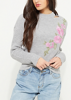 Gray Rose Embroidered Knit Choker Sweater
