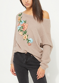 Taupe Rose Embroidered Slouchy Pullover Sweater